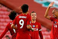 Es ist geschafft: Mo Salah, Roberto Firmino, Jordan Henderson und Fabinho (v.l.n.r.) dürfen jubeln.