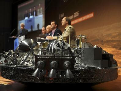 A full-size model of the European ExoMars entry, descent and landing module, Schiaparell is seen during a press conference at the European Space Agency (ESA) Headquarters in Darmstadt, Germany October 20, 2016. REUTERS/Kai Pfaffenbach