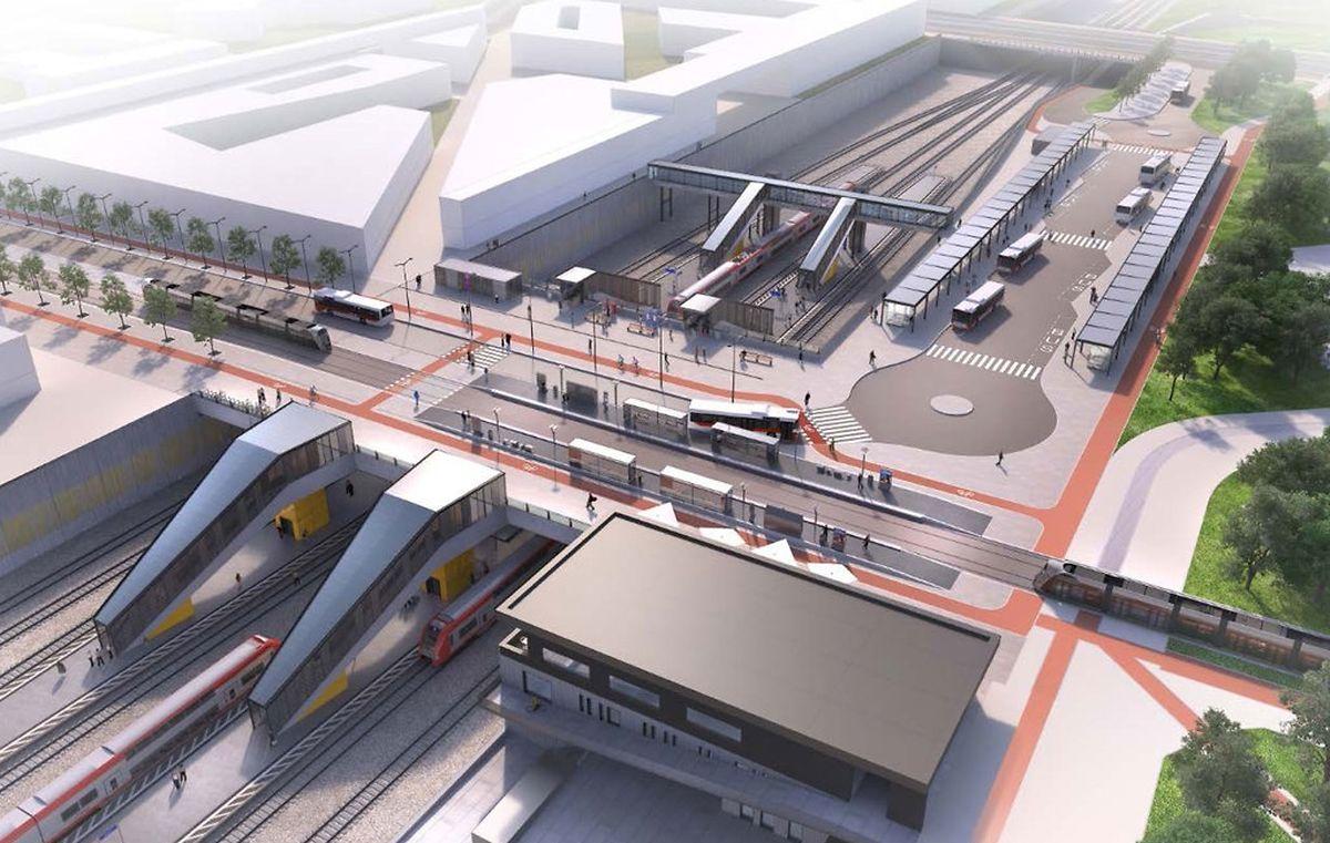 Le futur pôle d'échange de Howald. Le premier des deux quais ouvrira dès le 10 décembre 2017. Le second sera opérationnel dans deux ans. «Cette nouvelle gare importante soulagera la Gare centrale et permettra de prendre directement le tram», explique François Bausch.