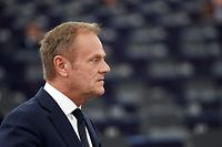 European Council President Donald Tusk speaks during a debate on UK�s withdrawal from the EU during a plenary session at the European Parliament on April 16, 2019 in Strasbourg, eastern France. (Photo by FREDERICK FLORIN / AFP)