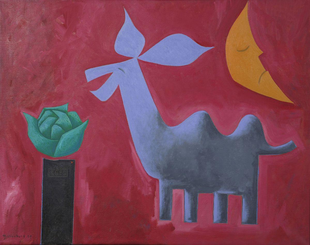 """Henri Dillenburg: """"Chamâne devant l'art [officiel]"""", huile sur toile, 1992."""
