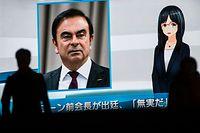 Le visage de Carlos Ghosn sur un écran de Tokyo, où sont diffusées les actualités.