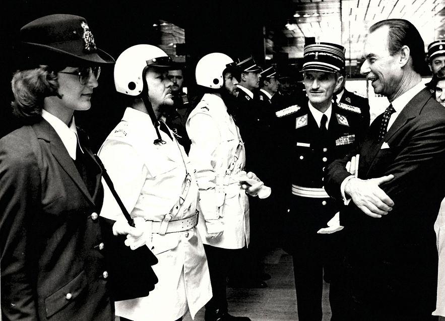 Truppeninspektion durch den Grossherzog am 13. Juni 1980 bei der 50. Jubiläumsfeier der Lokalpolizei.