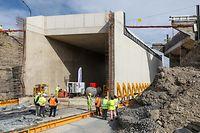 Chantier d'un nouveau tunnel ferroviaire à Athus