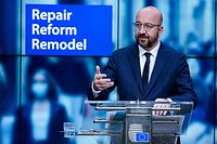 European Council President Charles Michel speaks during a press conference to present his new proposal for the MFF (Multiannual financial framework) and the recovery package at the European Council building in Brussels on July 10, 2020. (Photo by Kenzo TRIBOUILLARD / POOL / AFP)
