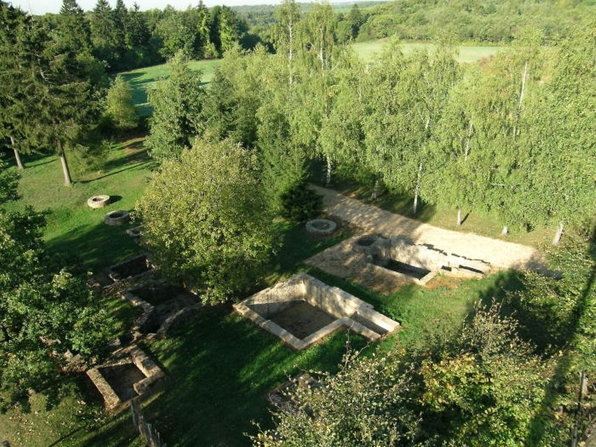 Vue aérienne d'une partie de l'oppidum gaulois du Titelberg à Pétange.