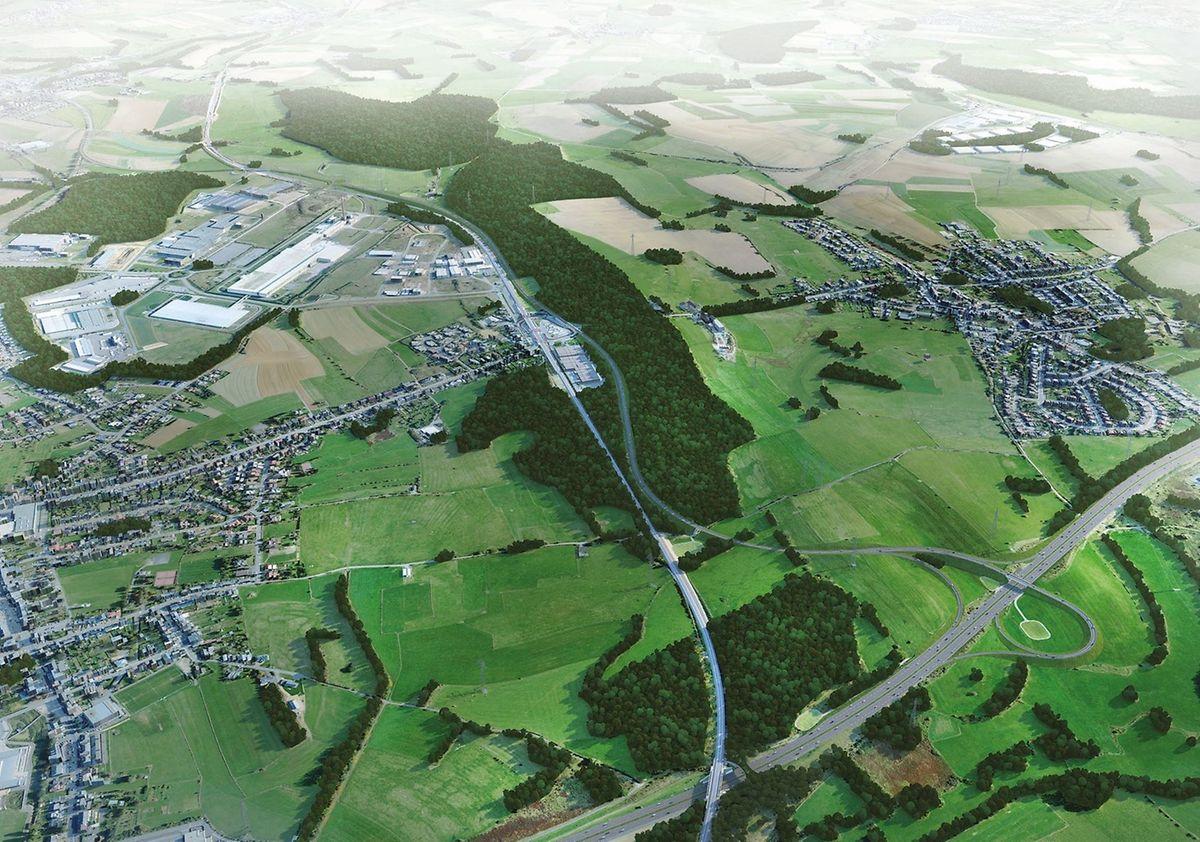 Auf der Illustration ist die Umgehungsstrasse zu erkennen, die von der Autobahn A13 aus entlang der Schienen durch die Natura-2000-Zone führt.