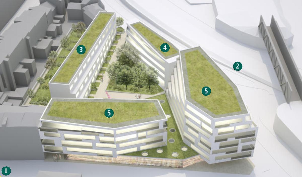 Das Alternativprojekt ohne Turm sah zwischen der Rue Victor Hugo (1) und dem Boulevard Prince Henri (2)  eine Reihe von elf Einfamilienhäusern (3), ein Studentenwohnheim (4) und ein Doppelgebäude (5) mit Geschäften, Büros und 50 Wohnungen vor.