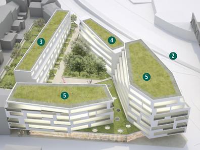 Zwischen der Rue Victor Hugo (1) und dem Boulevard Prince Henri (2) entsteht nun doch kein Hochhaus, sondern eine Reihe von elf Einfamilienhäusern (3), ein Studentenwohnheim (4) und ein Doppelgebäude (5) mit Geschäften, Büros und 50 Wohnungen.