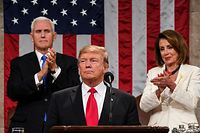 US President Donald Trump delivers the State of the Union address, alongside Vice President Mike Pence and Speaker of the House Nancy Pelosi, at the US Capitol in Washington, DC, on February 5, 2019. (Photo by Doug Mills / POOL / AFP)