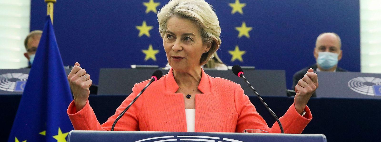Kommissionschefin Ursula von der Leyen bei der Rede zur Lage der Union im Europaparlament.