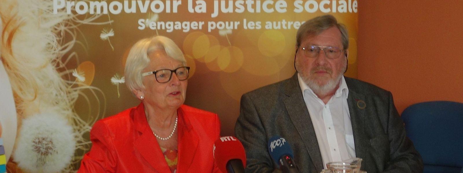 Caritas-Präsidentin Marie-Josée Jacobs und Caritas-Sprecher Robert Urbé sorgen sich um das Zusammenleben in Luxemburg