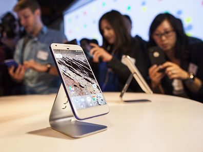 Google's Pixel phone during an event to introduce Google hardware products on October 4, 2016 in San Francisco