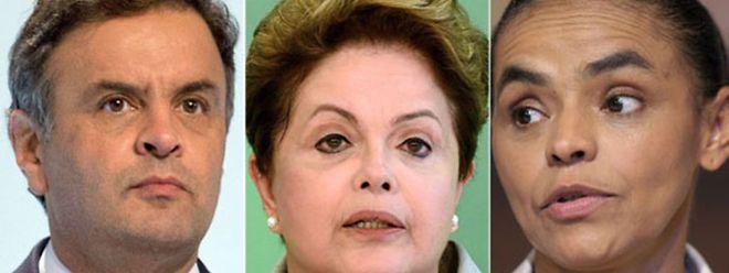 Aécio Neves (PSDB), Dilma Rousseff (PT) e Marina Silva (PSB)