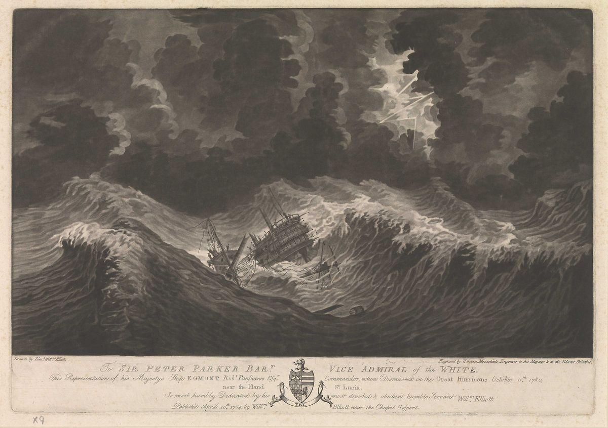 """""""Die HMS Egmont nach dem Mastbruch am 11. Oktober, nahe der Insel Santa Lucia""""."""