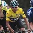 Colombia's Egan Bernal (C), wearing the overall leader's yellow jersey, rides during the 110km 8th and last stage of the 77th Paris-Nice cycling race stage between Nice and Nice on March 17, 2019. (Photo by Anne-Christine POUJOULAT / AFP)