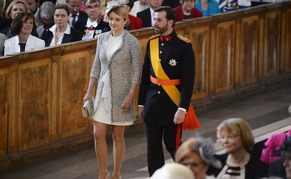 Hereditary Grand Duke Guillaume of Luxembourg and Countess Stephanie de Lannoy arrive for the christening of Sweden's Princess Estelle in the Royal Chapel in Stockholm