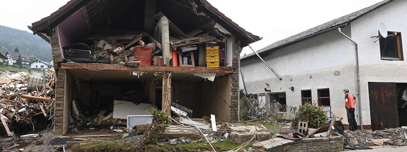 Ein zerstörtes Haus in Schuld (Rheinland-Pfalz).