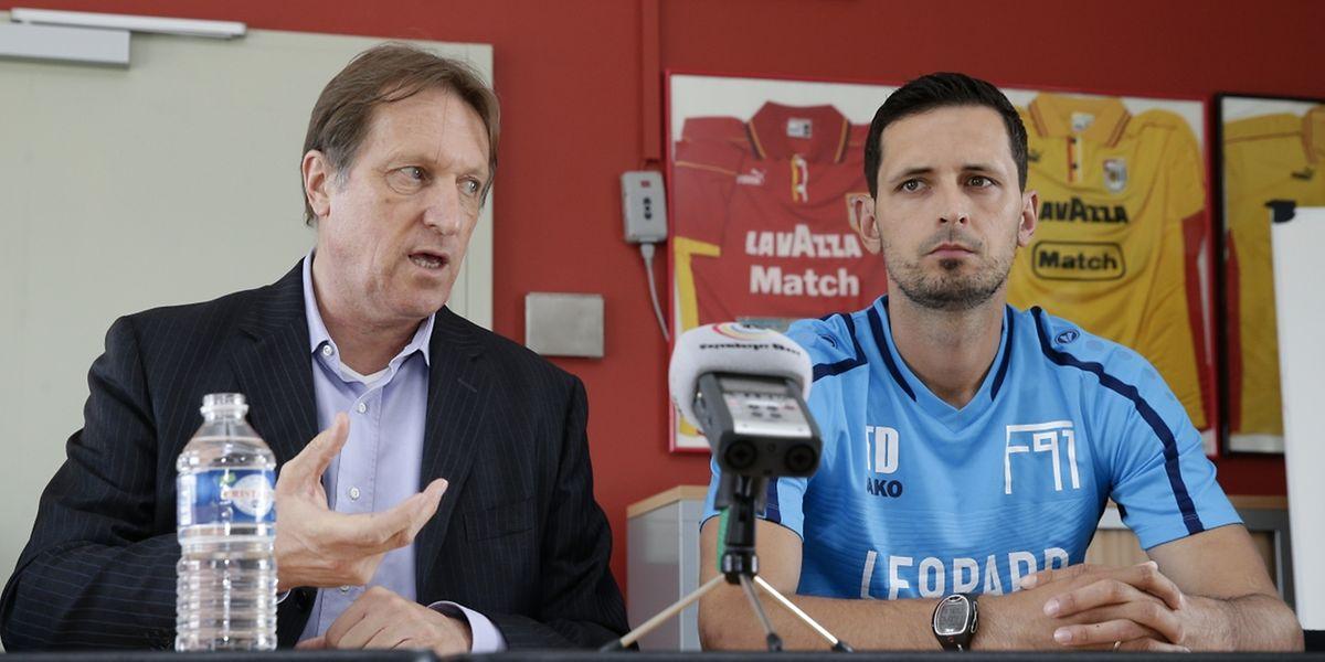 Le président Romain Schumacher et son nouveau coach Dino Toppmöller