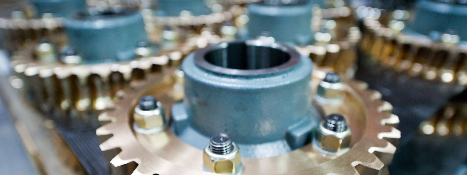 Teile eines Getriebes in der Produktionshalle der ThyssenKrupp Aufzugswerke.