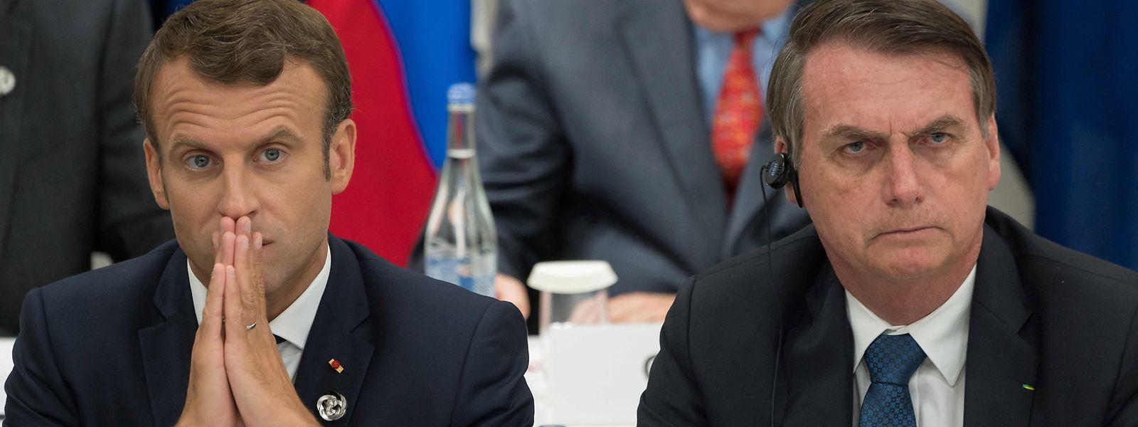 Zwischen Emmanuel Macron (L) und Jair Bolsonaro stimmt die Chemie offensichtlich nicht.