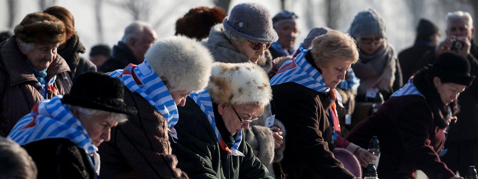 Überlebende des Vernichtungslagers Auschwitz bei der Gedenkfeier zum Jahrestag der Befreiung des Lagers vor 72 Jahren.