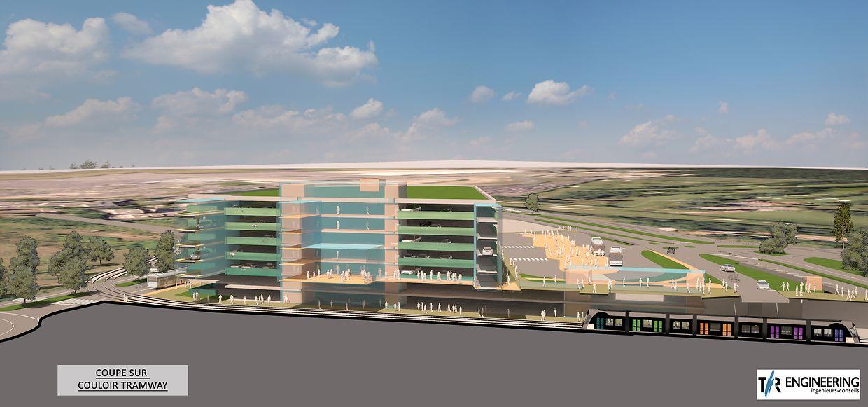 Il y aura un arrêt de tramway à l'intérieur même du parking de 4.000 places.