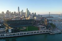 SAN FRANCISCO, CALIFORNIA - MARCH 12: An aerial view of Oracle Park, where the San Francisco Giants play, on March 12, 2020 in San Francisco, California. The NBA, NHL, NCAA and MLB have all announced cancellations or postponements of events because of the COVID-19.   Ezra Shaw/Getty Images/AFP == FOR NEWSPAPERS, INTERNET, TELCOS & TELEVISION USE ONLY ==