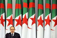 (FILES) A file photo taken on April 19, 2009 shows Algerian President Abdelaziz Bouteflika delivering a speech after he was sworn in, for a third term of five years during an official ceremony at the Palace of Nations in Algiers. - Algeria's President Abdelaziz Bouteflika will resign before his mandate expires on April 28, 2019, his office said on April 1, after a succession of loyalists deserted the ailing leader in recent days. (Photo by FAYEZ NURELDINE / AFP)