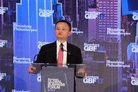E-commerce giant Alibaba's founder, Jack Ma, addresses the opening session of the Global Bloomberg Business Forum on September 20, 2017, in New York City. / AFP PHOTO / ludovic MARIN
