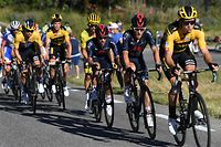 ORCIERES, FRANCE - SEPTEMBER 01: Wout Van Aert of Belgium and Team Jumbo - Visma / Julian Alaphilippe of France and Team Deceuninck - Quick-Step Yellow Leader Jersey / Jonathan Castroviejo of Spain and Team INEOS Grenadiers / Michal Kwiatkowski of Poland and Team INEOS Grenadiers / during the 107th Tour de France 2020, Stage 4 a 160,5km stage from Sisteron to Orcieres-Merlette 1825m / #TDF2020 / @LeTour / on September 01, 2020 in Orcieres, France. (Photo by Tim de Waele/Getty Images)