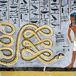 EGYPT - JUNE 21: The god Atum fighting the serpent Apophis, the enemy of the Sun, fresco, burial chamber, Tomb of Ramesses I (KV16), Valley of the Kings, Thebes (Unesco World Heritage List, 1979). Egyptian civilisation, New Kingdom, Dynasty XIX. (Photo by DeAgostini/Getty Images)