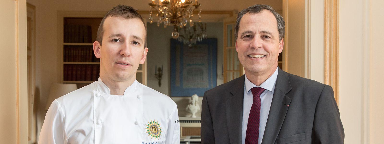 David Lachavannes (à g.) et l'ambassadeur de France au Luxembourg, Bruno Perdu.