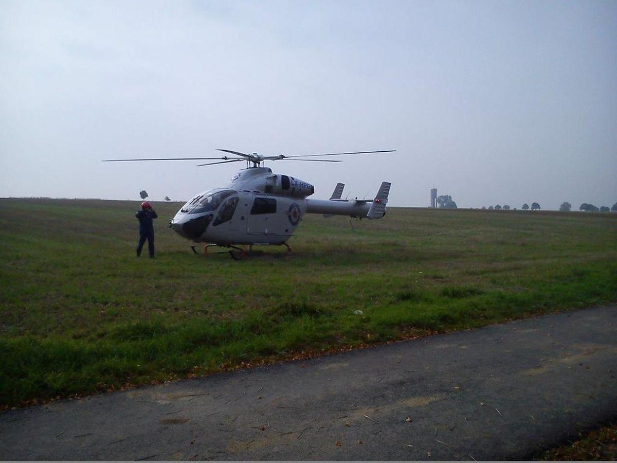 Der Rettungshubschrauber der Luxembourg Air Rescue war am Unfallort im Einsatz.