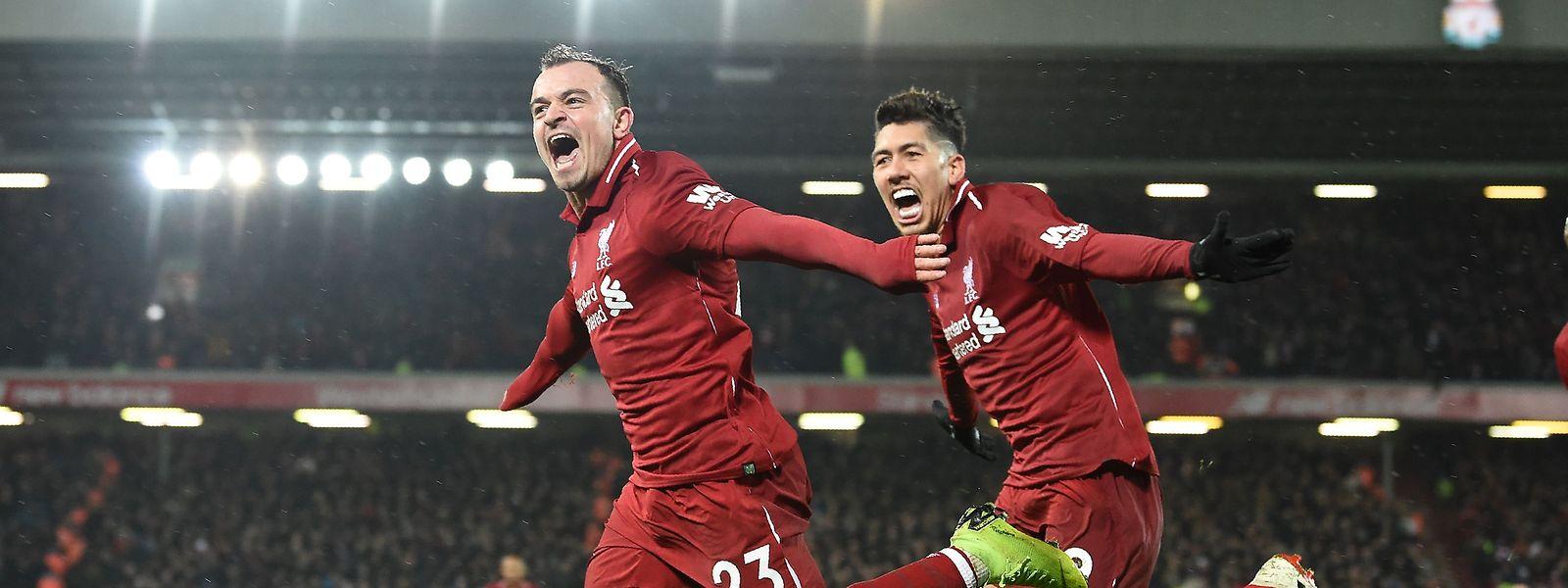 Xherdan Shaqiri und Roberto Firmino (r.) wollen mit dem FC Liverpool den FC Bayern ausschalten.