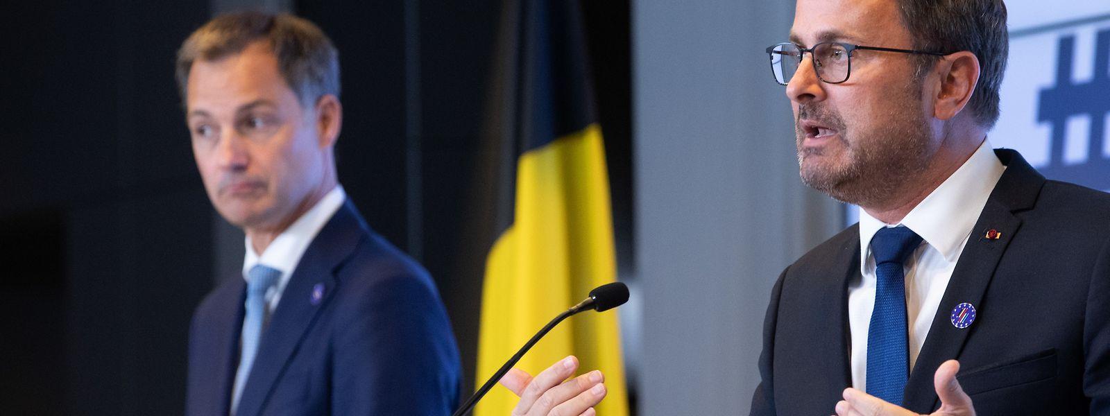 Premierminister Xavier Bettel (rechts) und sein belgischer Kollege Alexander De Croo.