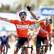 SANTA CLARITA, CA - MAY 17: Evan Huffman of the USA and Rally Cycling team celebrates winning stage four of the AMGEN Tour of California from Santa Barbara to Santa Clarita on May 17, 2017 in Santa Clarita, California.   Bryn Lennon/Getty Images/AFP