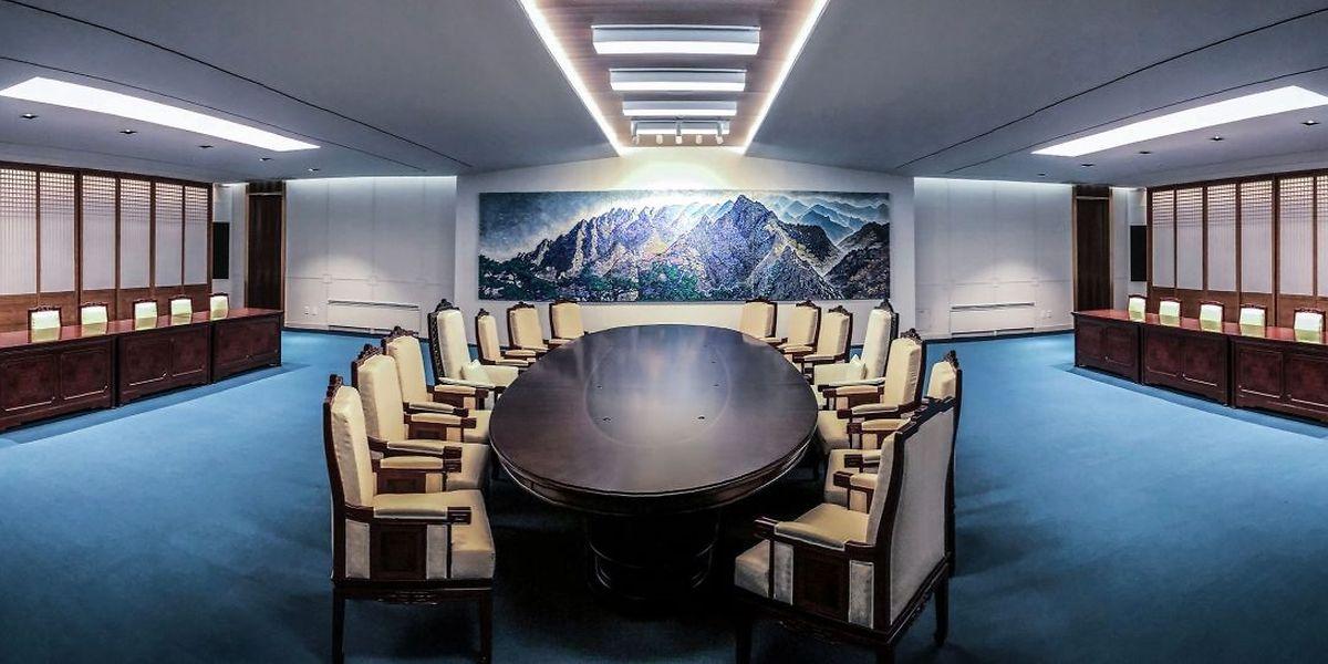 Das Konferenzzentrum in Panmunjom präsentiert sich zum Gipfeltreffen in einem völlig neuen Gewand.