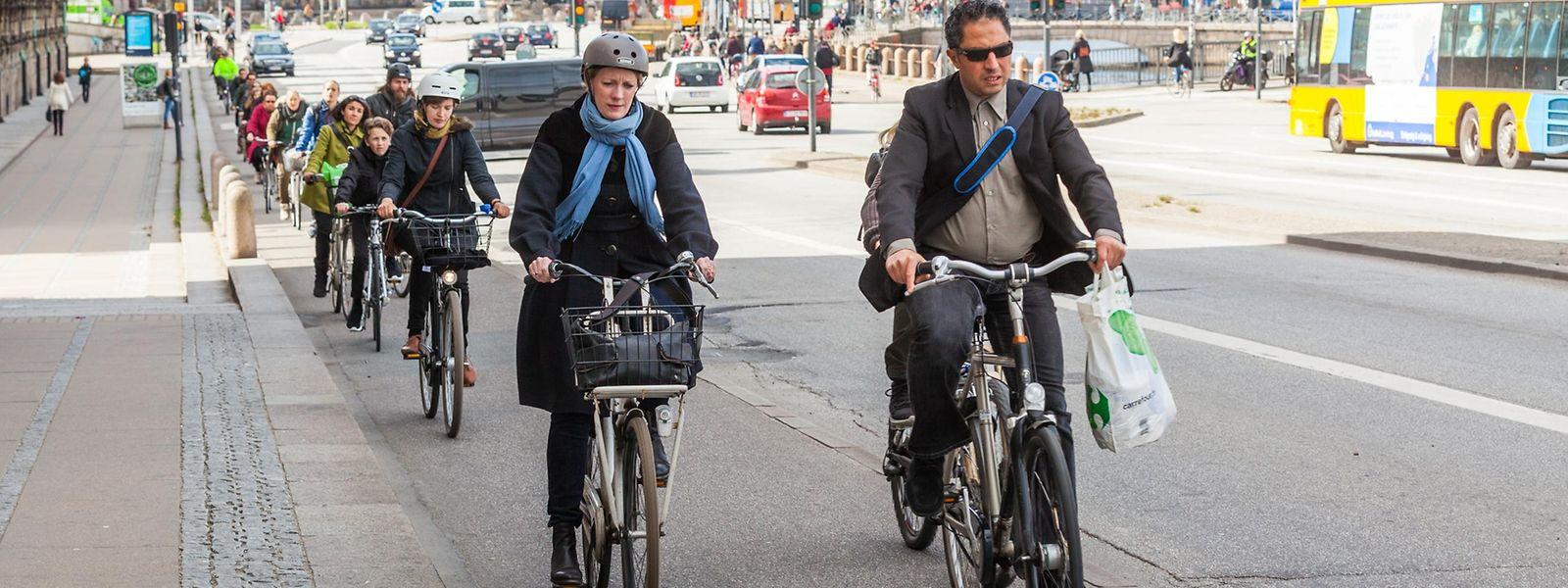 In Kopenhagen ist Radfahren äußerst beliebt.