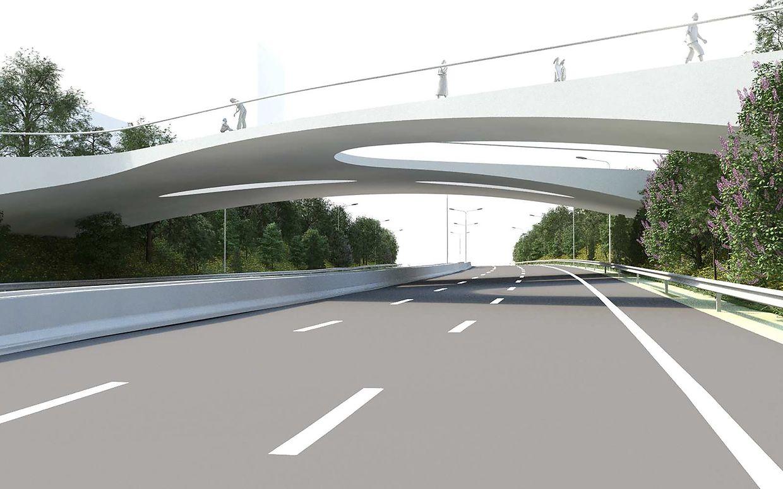 Le futur pont en Y qui doit relier la rue des Scillas au Ban de Gasperich