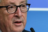 European Commission President Jean-Claude Juncker delivers a press conference following a European Council meeting on Brexit at The Europa Building at The European Parliament in Brussels on April 10, 2019. - European leaders agreed with Britain on April 11 to delay Brexit by up to six months, saving the continent from what could have been a chaotic no-deal departure at the end of the week. The deal struck during late night talks in Brussels means that if London remains in the EU after May 22, British voters will have to take part in European elections. (Photo by Aris Oikonomou / AFP)