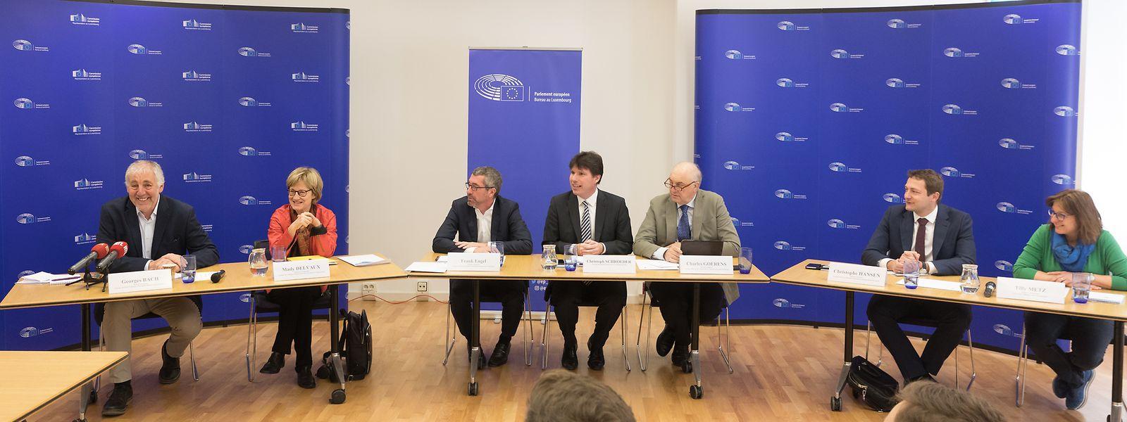 EU-Bilanz von Georges Bach, Mady Delvaux und  Frank Engel (vlnr) sowie Tilly Metz, Christophe Hansen und Charles Goerens (vrnl)
