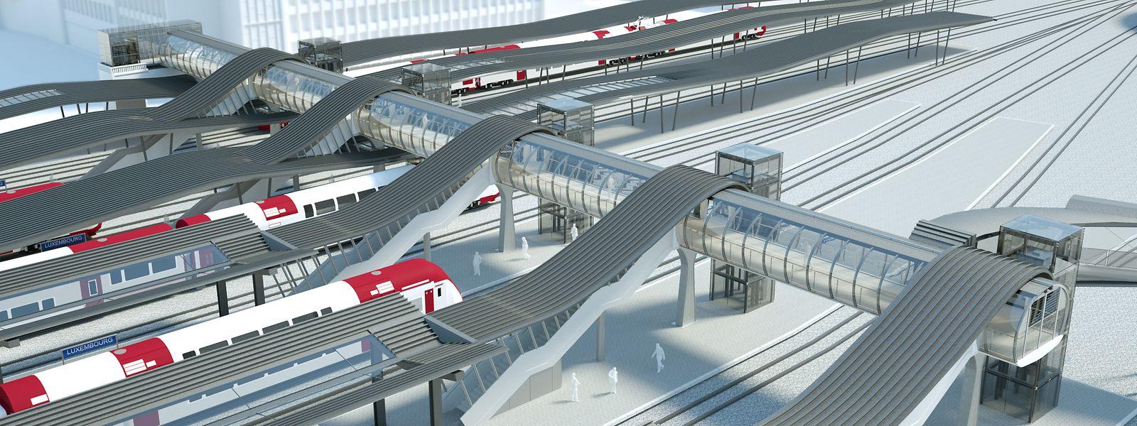 La future passerelle des CFL doit desservir six quais et dix voies et entrer en service à la mi-septembre, selon le planning officiel.