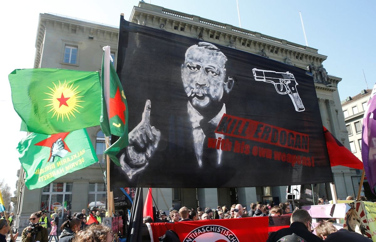 Eine Erdogan-kritische Demonstration im schweizerischen Bern.