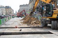 Lok , Gare , Nei Avenue , Chantier Tram , Foto:Guy Jallay/Luxemburger Wort