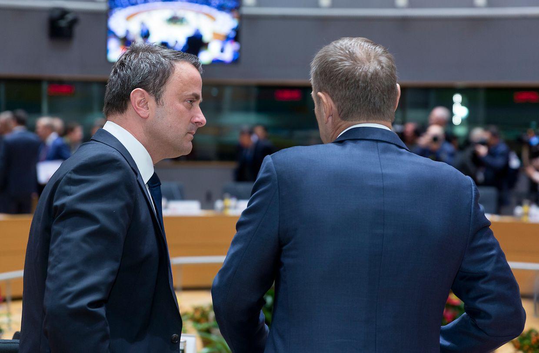 Xavier Bettel, Luxemburgs Premier, zusammen mit EU-Ratspräsident Donald Tusk.