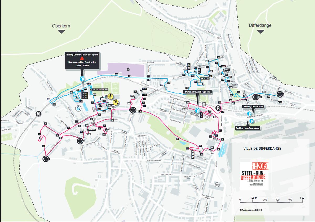 Le détail des 10 km de parcours de la Steel-Run à travers Differdange