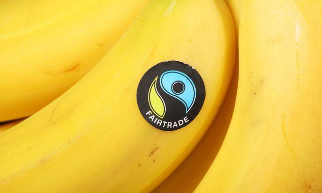 A Fairtrade-labelled banana