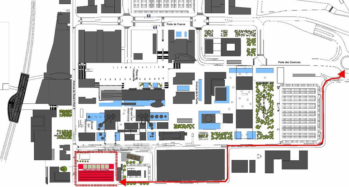 Das künftige Nationalarchiv ist rot eingezeichnet. Die Lastwagen sollen während der Arbeiten die Baustelle von hinten anfahren (rot eingezeichnet).
