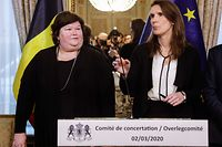 Minister of Health Maggie De Block (L) and Belgian Prime Minister Sophie Wilmes give a press conference after a meeting of the consultative committee with ministers of the Federal government, the regional governments and the community governments, in Brussels, on March 02, 2020. - This meeting with the different governments is called when matters involving multiple levels are discussed. Today, the ministers discuss the further steps to take in the current COVID-19 epidemic caused by the novel coronavirus. (Photo by THIERRY ROGE / BELGA / AFP) / Belgium OUT